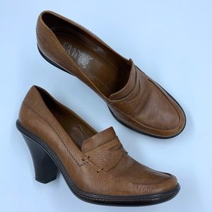 Franco Sarto | Brown Heeled Penny Loafers - Size 7